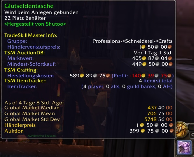 Glutseidentasche in World of Warcraft